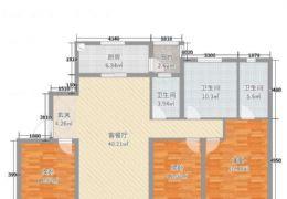 中海凯旋门136平米三房朝南4室2厅2卫出售