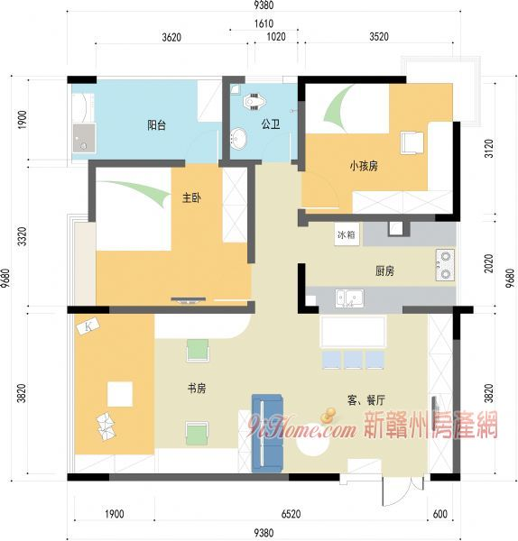 水岸新天精装两房出售_房源展示图5_新亚博娱乐体育房产网