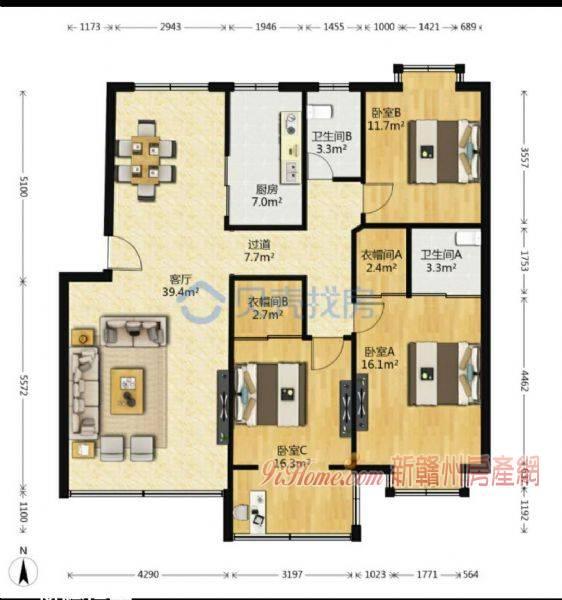 张家围路133平米3室2厅2卫出售_房源展示图3_新赣州房产网
