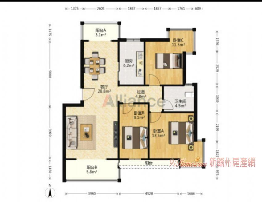 江畔豪庭方正户型南北双阳台3室2厅1卫出售_房源展示图0_新赣州房产网
